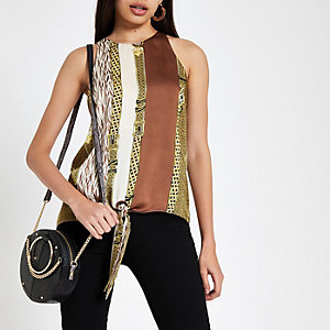 Brown chain print knot front halter neck top