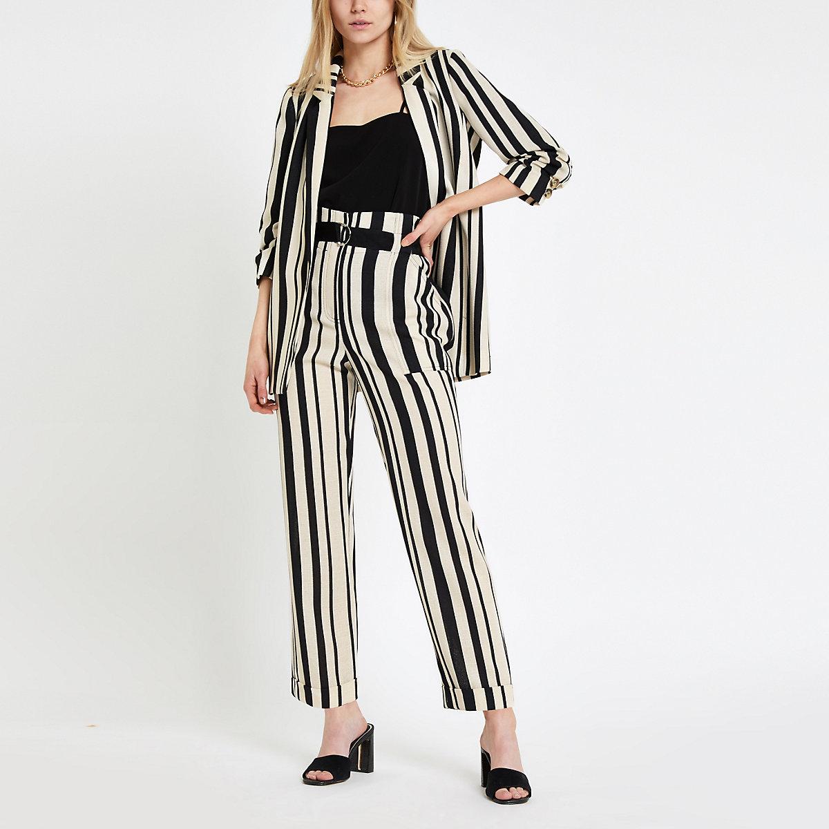 Black stripe D ring tapered leg trousers