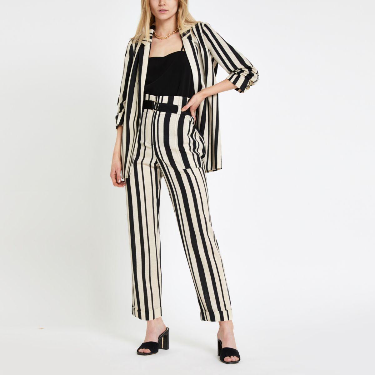 Black stripe D ring tapered leg pants