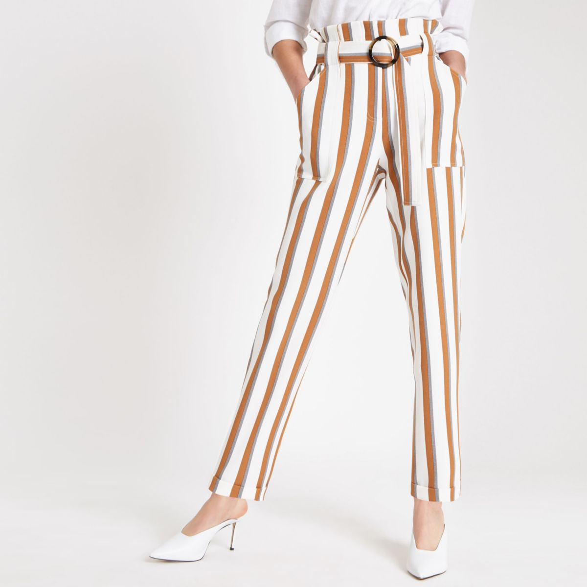 Brown stripe paperbag peg trousers
