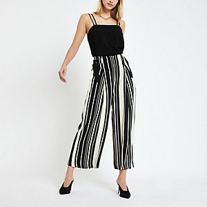 Black stripe print culotte pants