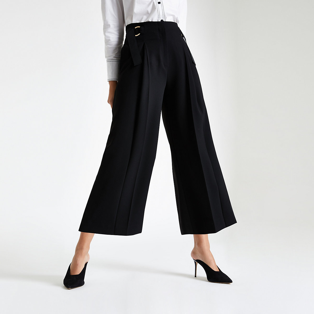Black crop wide leg trousers