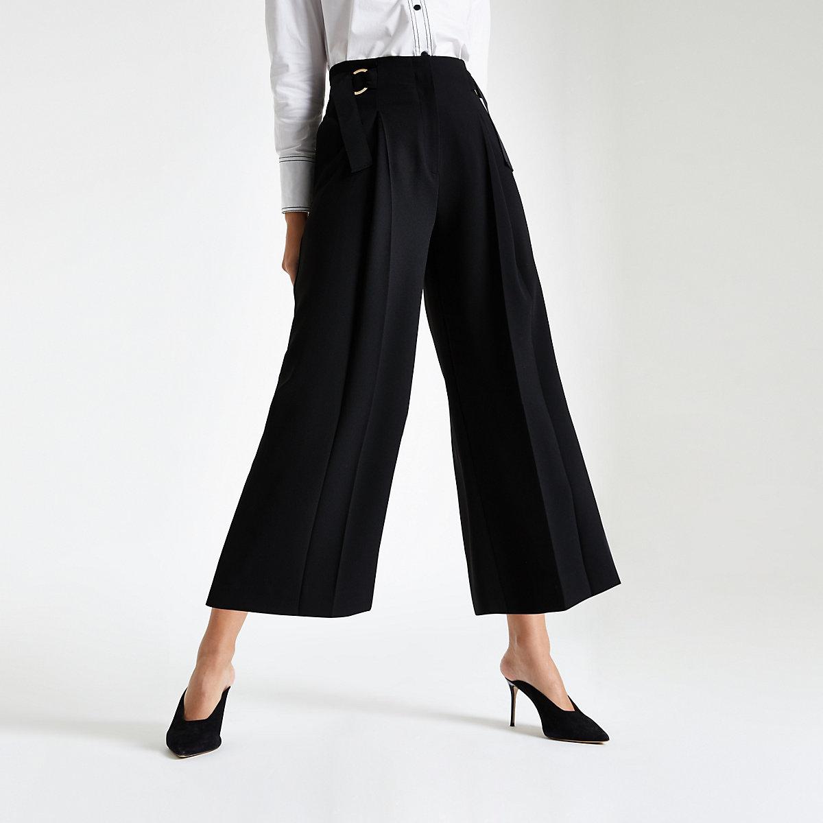 Black crop wide leg pants