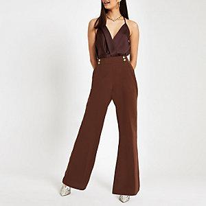 Brown satin wrap bodysuit