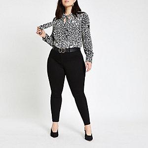Plus – Chemise à imprimé léopard noire avec encolure nouée