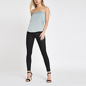 Blue tie shoulder cami top