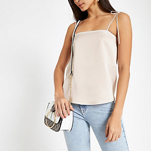 Light grey tie shoulder satin cami top