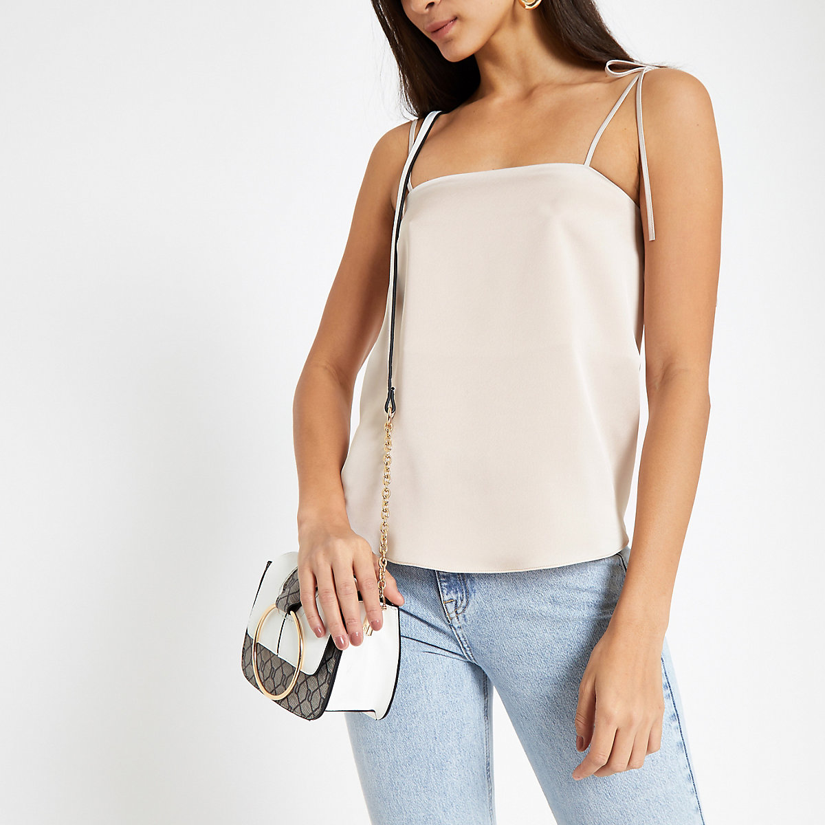 Light grey tie shoulder cami top