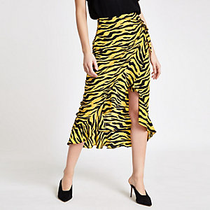 Yellow zebra print frill wrap front skirt