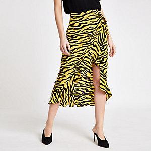 Yellow zebra print frill wrap front skirt