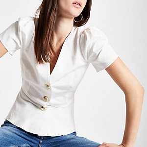 White button front tea top