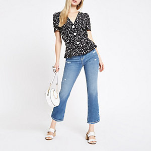 Black daisy print button front tea top