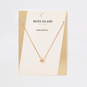 Gold plated cubic zirconia necklace