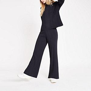 Pantalon bleu marine côtelé