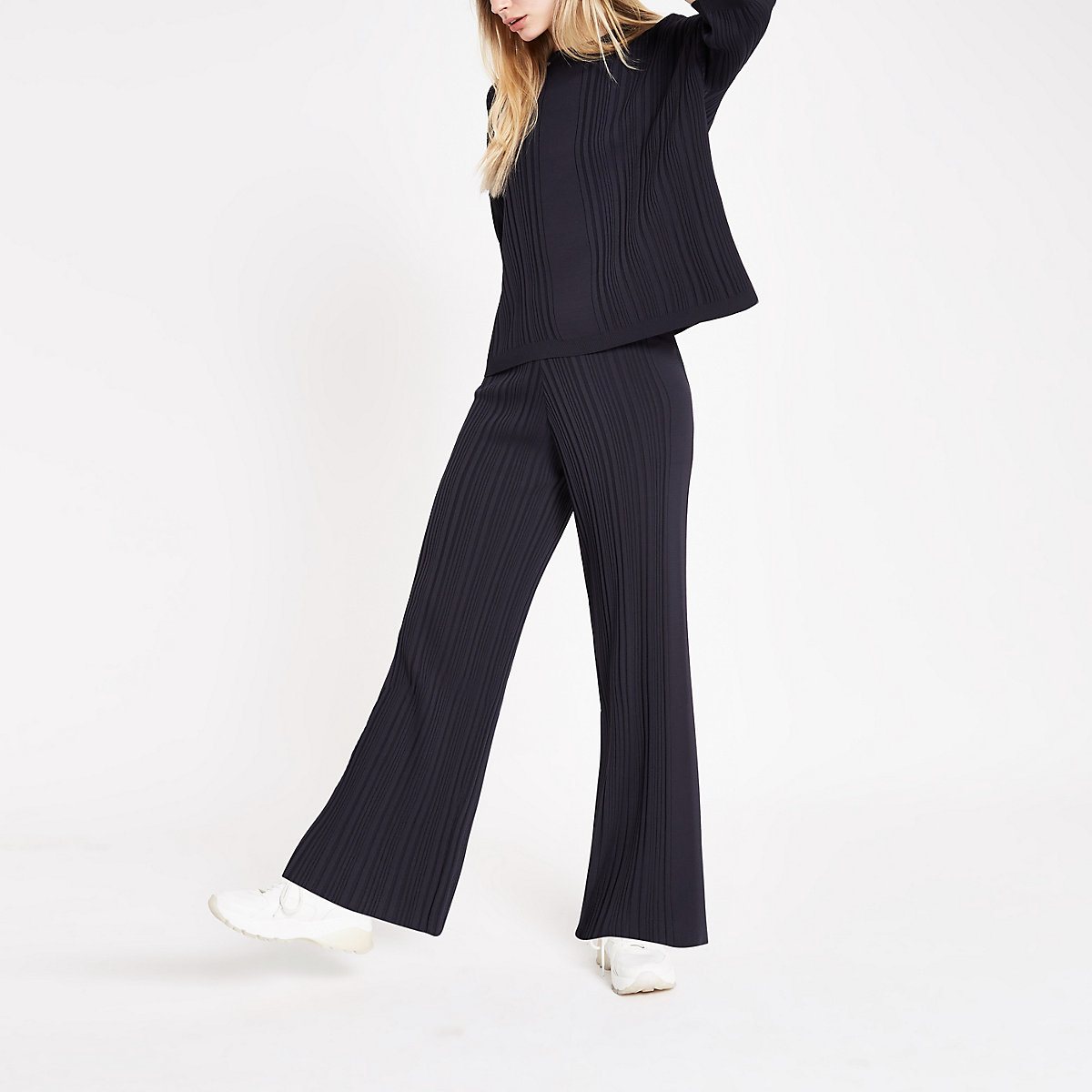 Navy ribbed trouser set