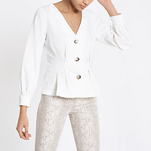 White button front long sleeve top