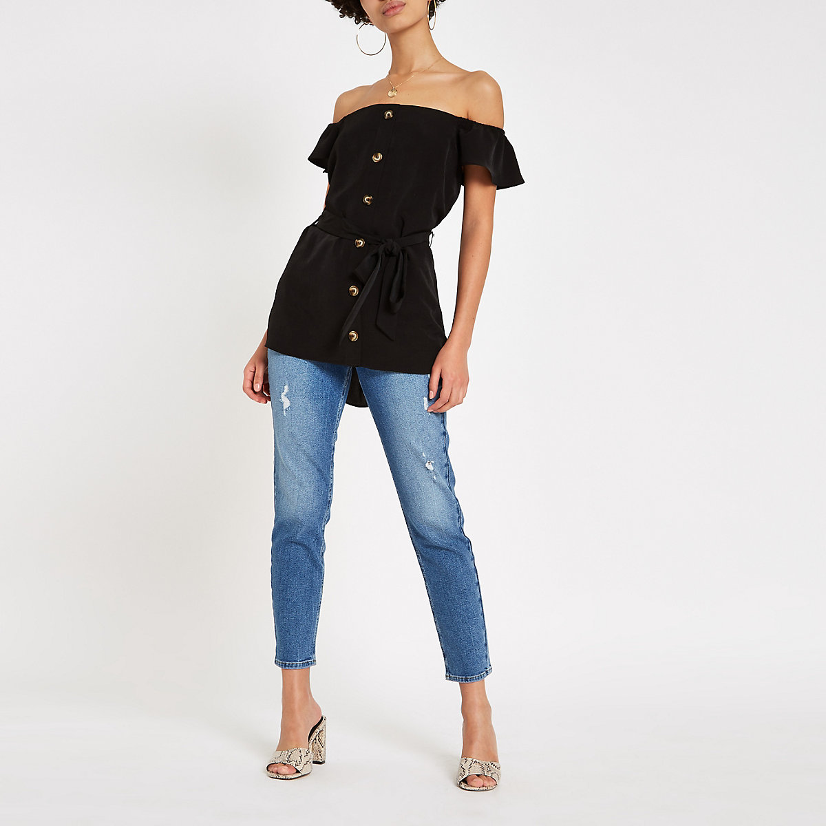 Black button front bardot tie waist top