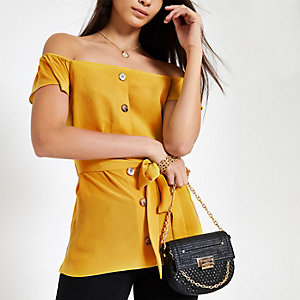 Yellow button front bardot tie waist top