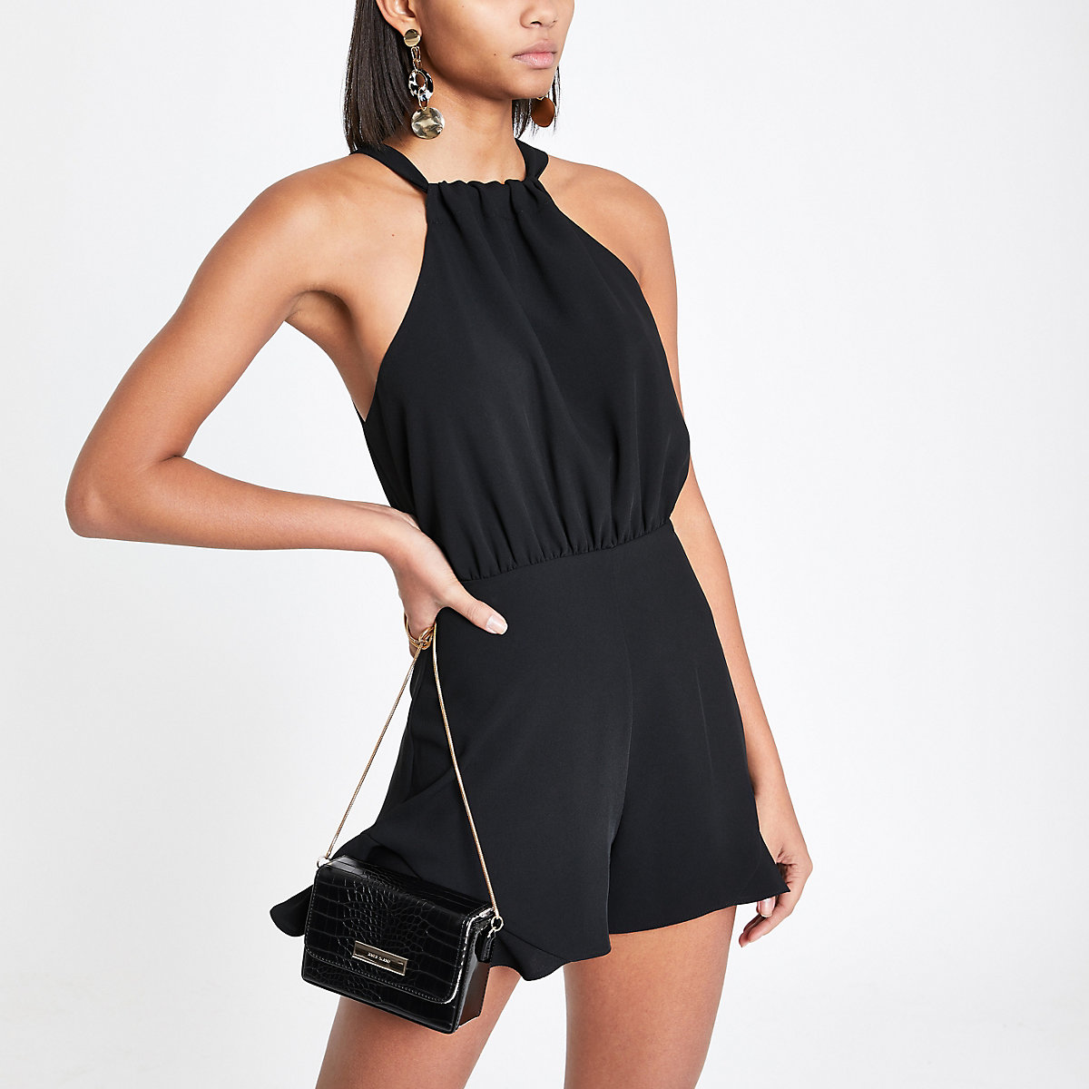 Black frill halter tie neck playsuit
