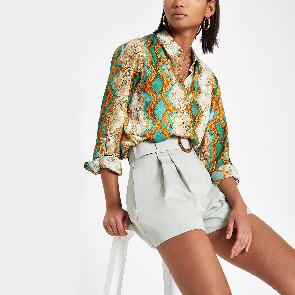 Turquoise snake print satin shirt