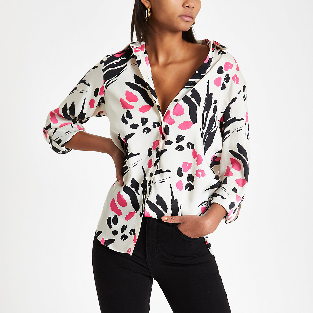 Pink animal print loose fit shirt