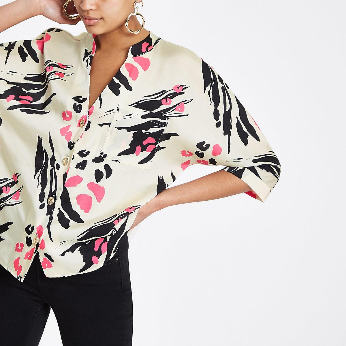 Pink scarf print satin shirt