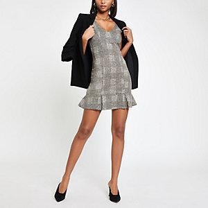 Grey check pinafore bodycon dress