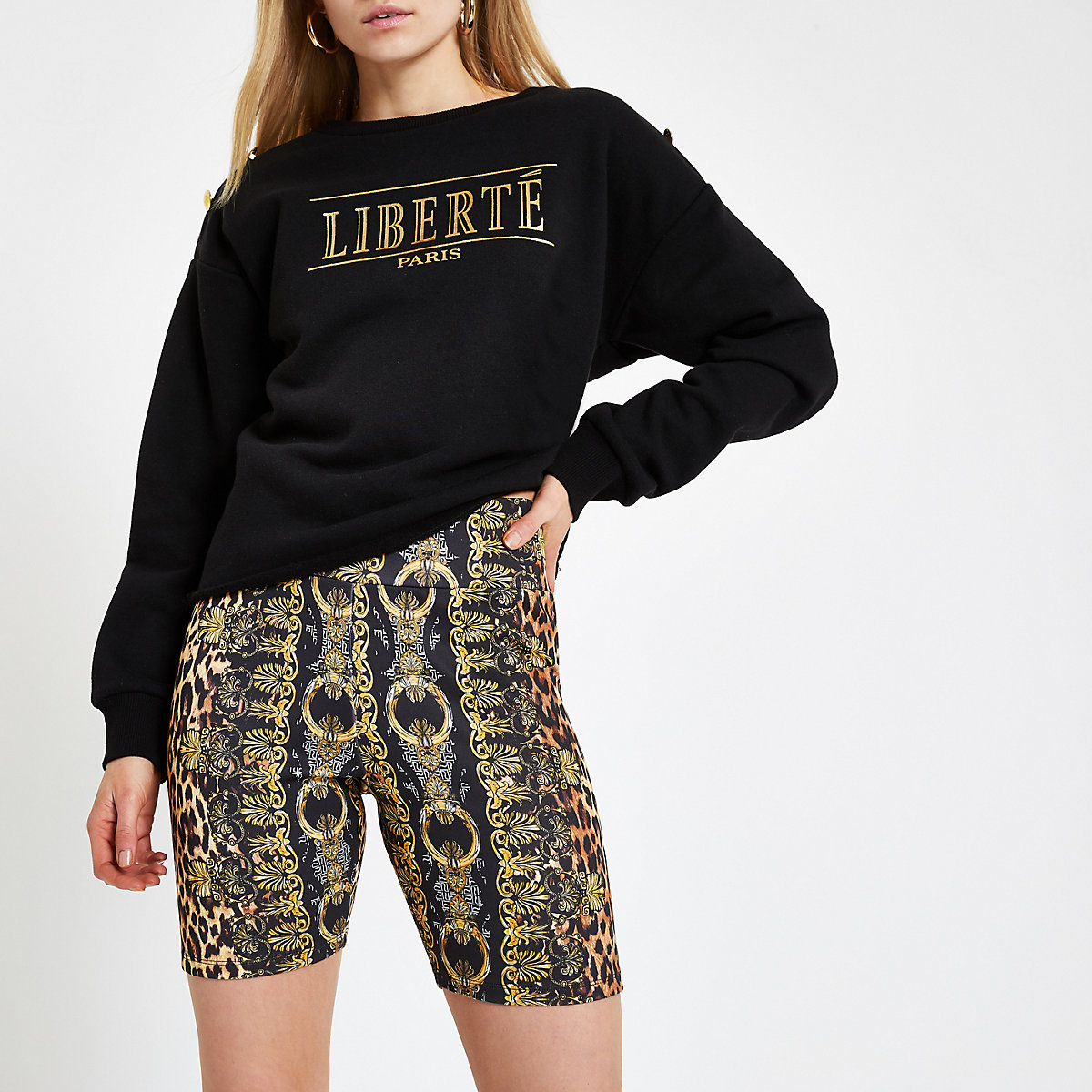 Brown scarf leopard print cycling shorts