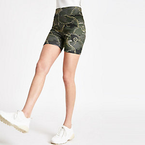 Khaki camo print cycling shorts
