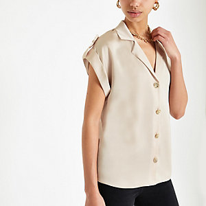 Light beige short sleeve utility shirt