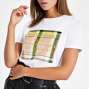 Weißes, kastenförmiges T-Shirt mit Karos
