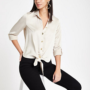 Stone satin tie front shirt