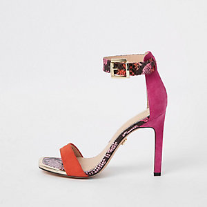 Pink snake print barely there sandals