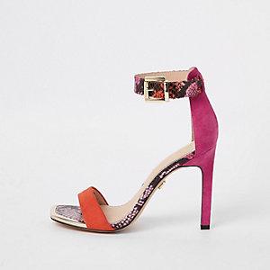 Roze minimalistische sandalen met slangenprint