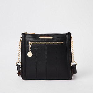 Black zip front messenger bag