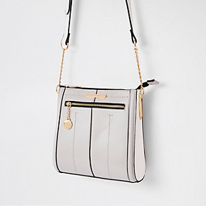 Grey zip front messenger bag
