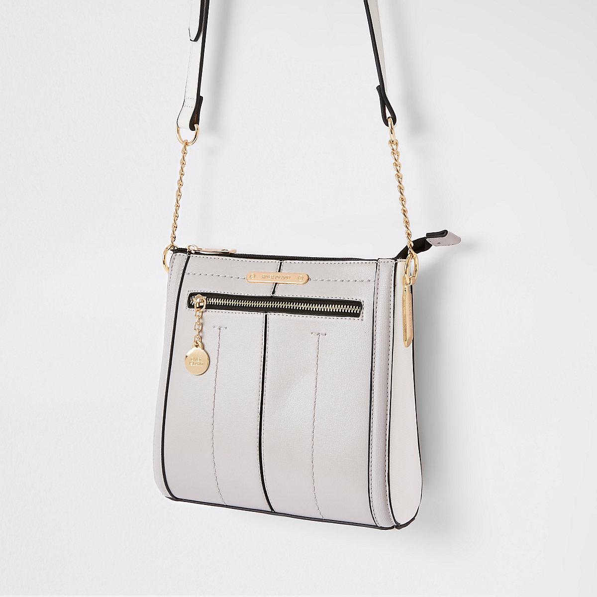 Grey zip front messenger bag
