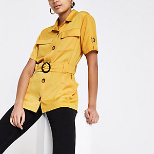 Geel utility overhemd met ceintuur