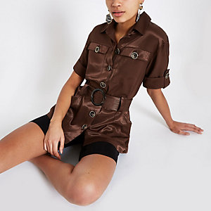 Brown utility belted waist shirt