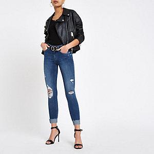 Amelie - Middenblauwe skinny jeans met opgerolde pijpen