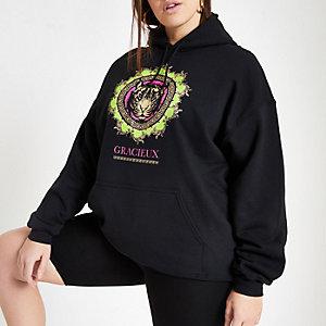 RI Plus - Zwarte hoodie met neon tijgerprint
