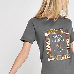 Grey 'Mon cheri' camo print jumbo T-shirt