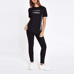 Black diamante trim T-shirt