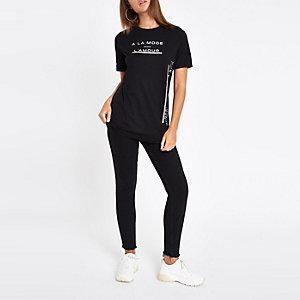 Black rhinestone trim T-shirt