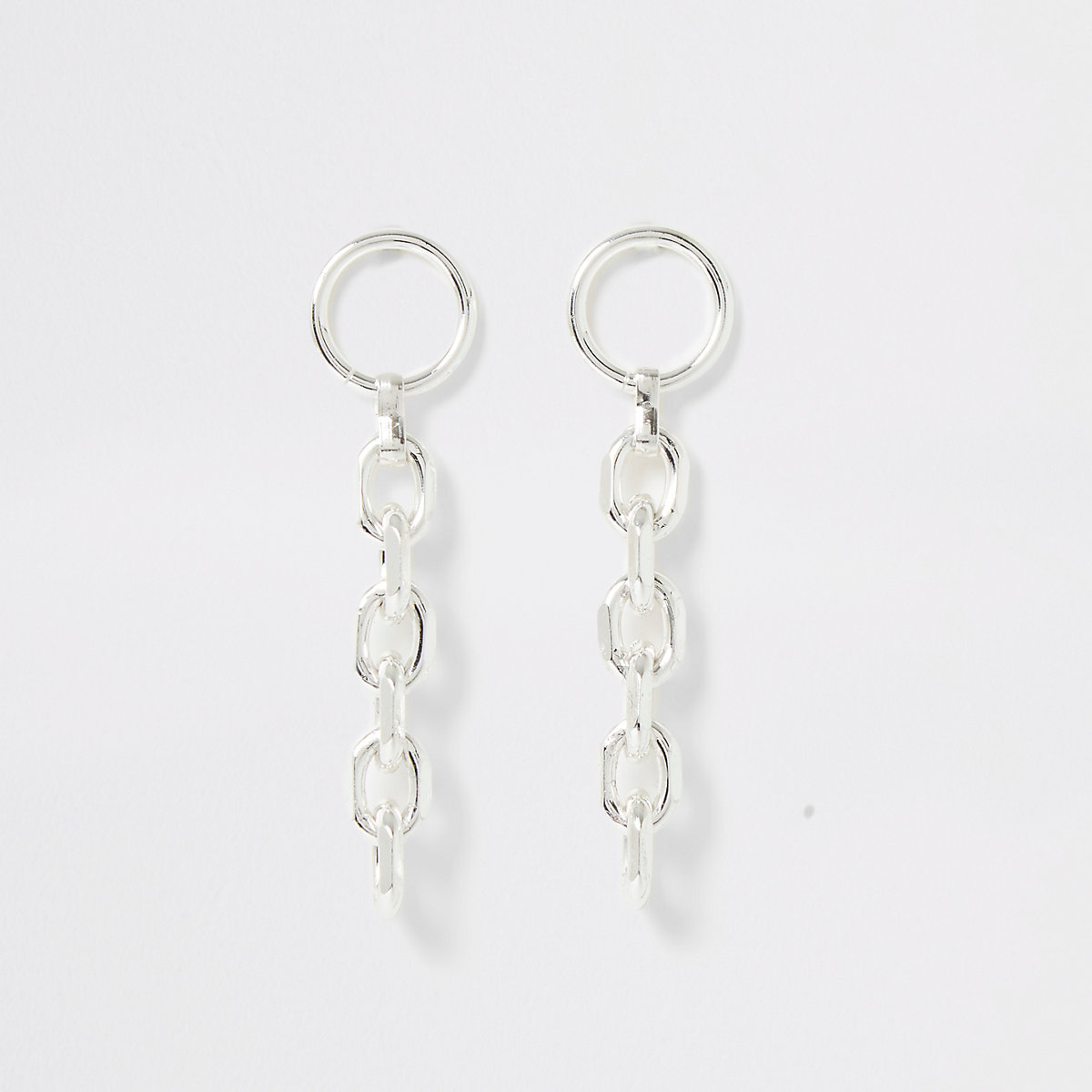 Silver color chain drop earrings