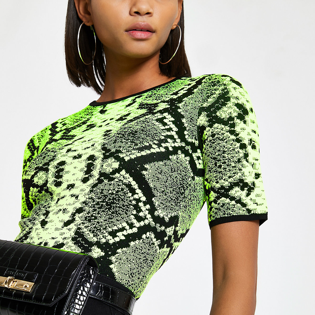 Neon green snake print knitted T-shirt