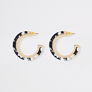 Black mono print hoop earrings