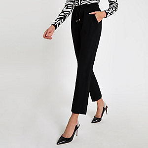 Black drawstring peg trousers