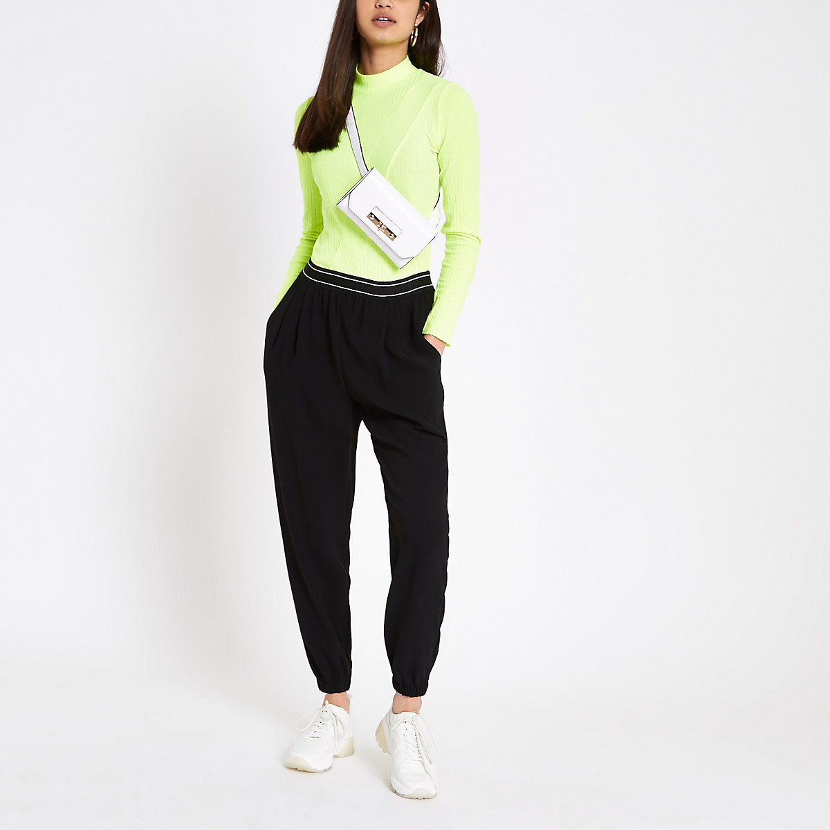 Black cuffed peg trousers