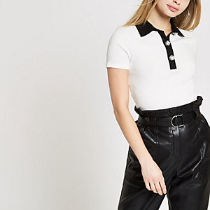 White ribbed embellished collar T-shirt